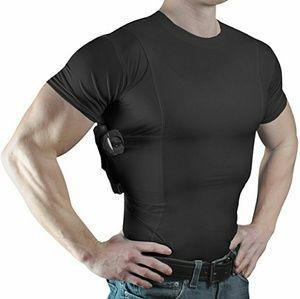Men's Black Conceal Carry Holster Crew Neck Shirt